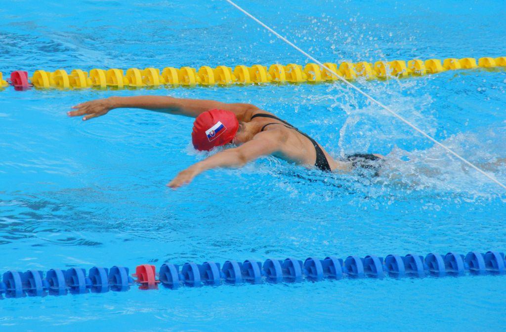 Katka Turková pláva 50 m delfína na Majstrovstvách sveta v plávaní masters 2014 v Montreale