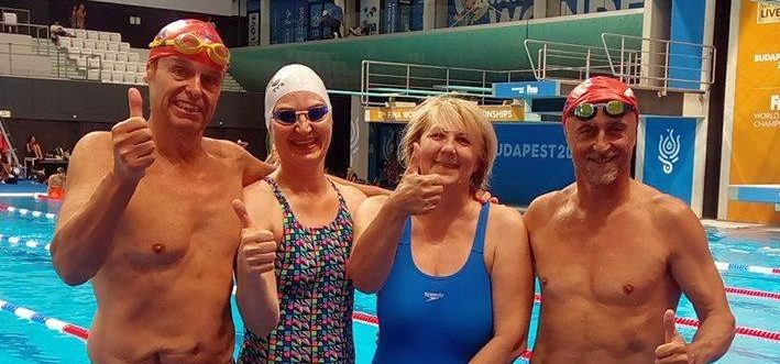 Plavci PVK Bratislava v Duna arene na Majstrovstvách sveta v plávaní masters 2017 v Budapešti